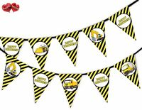 Happy Birthday Construction Plant Bunting Banner 15 flags by PARTY DECOR