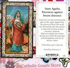 St. Agatha Patroness against Breast diseases - Gold Trim - Paperstock Holy Card