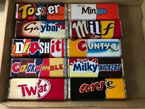 box of rude chocolate bars swear funny joke