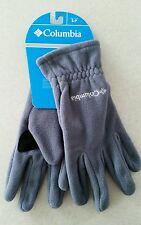 NWT Columbia Men's SMALL Fast Trek Fleece Gloves GRAY Clip WINTER New!  182915