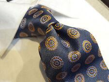 Fabio Extra Long xl Silk Tie Necktie navy Blue baby blue Stripe orange medallion