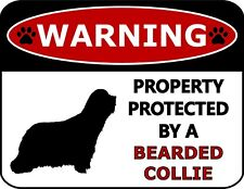 Warning Property Protected by an Bearded Collie Laminated Dog Sign Sp258