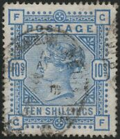GB~1883~ QV~10/- Ultramarine Fine Used, cat £525~SG183~ uk seller