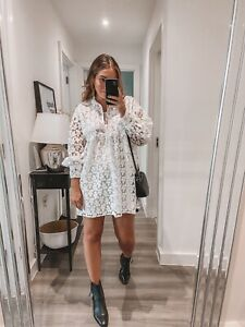Zara White Embroidered Lace Dress - medium