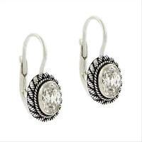 925 Silver CZ Bali Bead Oval Leverback Earrings