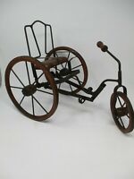 Antique Metal And Wood Old Fashioned Decorative Push Pedal Tricycle