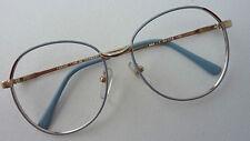 Brillenfassung gold blau Glasform 70er Vintage Oversized Breite mittel size M