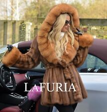 NEW BROWN SAGA MINK FUR LONG JACKET FOX HOOD CLASS OF SABLE CHINCHILLA COAT VEST