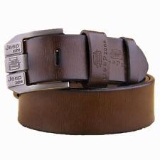 "JEEP Men's Leather Jeans Belt  Leather Mens Belts Black Brown 33""-44"" Pin Buckle"