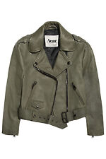 NWT $1200 ACNE STUDIOS MAPE Reptile Embossed Leather Olive Green Jacket 36 NEW