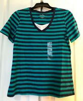 New Coral Bay Size Small Green Blue Striped Shirt Blouse Top Short Sleeve