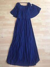 NEW ASOS Navy Blue Pleated Maxi Dress Size 2 Cape Sleeve Casual Retro