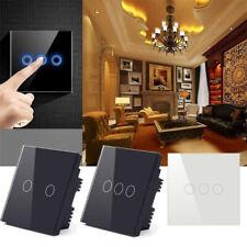 1 2 3 Gang 1 Way Crystal Glass Panel LED Light Touch Screen Wall Switch EU Plug*
