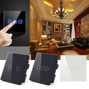 1 2 3 Gang 1 Way Crystal Glass Panel LED Light Touch Screen Wall Switch EU Plug*