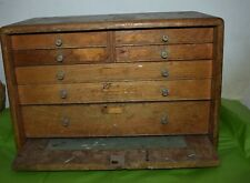 Vintage Engineers Wooden 7 Drawer Tool Chest Cabinet.
