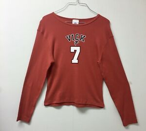 NFL FOR HER Red Michael Vick 7 FOOTBALL LONG SLEEVE SHIRT SIZE L