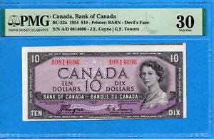 $10 1954 Bank of Canada Note Devil Face - Cutting Error - PMG VF-30