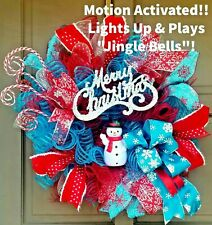 Musical Christmas Wreath Motion Activated Winter Deco Mesh Holiday Snowman Decor