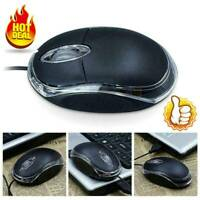 WIRED USB OPTICAL MOUSE FOR PC LAPTOP COMPUTER SCROLL WHEEL - BLACK NEW