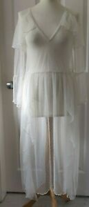 RIVER ISLAND Ivory Lacy See-through Dress - Size 10