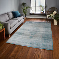 Traditional Vintage Style Persian Rug Design Oriental Faded Teal Area Carpet uk