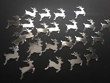 40 SILVER shiny Reindeer mirror Table Confetti CARD Christmas decoration