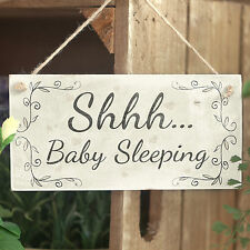 Shhh ... Baby Sleeping - Handmade Wood Door Sign / Plaque Newborn New Baby Gift