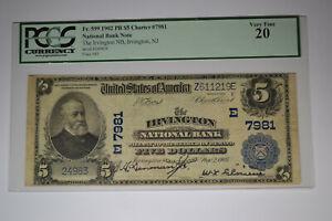 Irvington, NJ - $5 1902 Plain Back Fr. 599 The Irvington NB Ch. # (E)7981.  PCGS