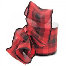 2 yards  - 63mm  wide RED/BLACK CHRISTMAS TARTAN RIBBON WIRED EDGE BOWS