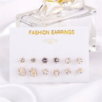 6Pairs/Set Lady Fashion Women Charm Crystal Ear Stud Earrings Set Jewelry