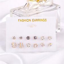 6Pairs/Set Fashion Women Earrings Set Rhinestone Crystal Zircon Ear Stud Jewelry