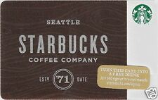 """Starbucks Limited Edition Holiday Gift Card """"Starbucks Seattle'71"""" 2015 Mint"""