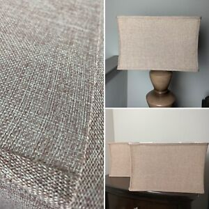 "Set (2) Modern Rectangle Cloth Weave Textured Lamp Shades 17"" x 11"" x 9.5"" • Tan"