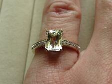 Rare Brazilian Green Kunzite & Natural Zircon 10K Yellow Gold Ring Size N-O/7