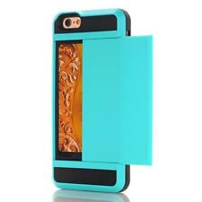 Slim Rubber Shockproof Case Cover For iPhone 5S 6 7 8 Plus with Card Slot Holder