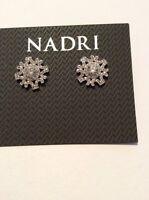 Nadri Silver Tone Lace Stud Earrings $50 #231