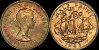 1963 GREAT BRITAIN HALF PENNY HIGH QUALITY COLOR TONED COIN