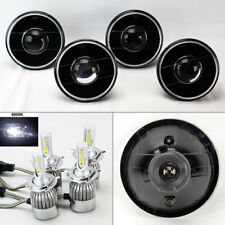 "FOUR 5.75"" 5 3/4 Round H4 Black Projector Headlights w/ 36W LED H4 Bulbs Plymout"