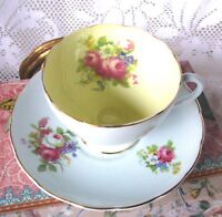 Foley Pastel Blue Teacup and Saucer Vintage Light Blue & Yellow Tea Cup Set