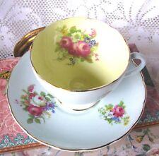 Foley Pastel Blue Teacup and Saucer Vintage Light Blue & Yellow Tea Cup Set