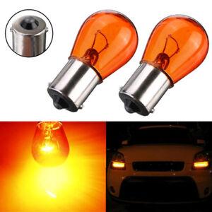 2x Car Amber 1156 P21W BA15S 581 Bayonet Base Lamp 21W Turn Signal Light Bulb