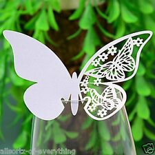 10 BUTTERFLY place cards for use with wedding wine champagne glasses engagement