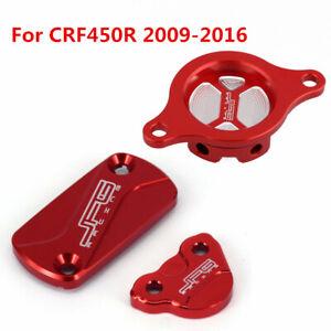 Front Rear Brake Reservoir Cover Oil Filter Cap For Honda CRF450R 2009-2015 2016