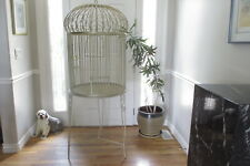 Magnificent Massive Iron Bird Cage Vtg Ornate Victorian Dome Parrot House & Base