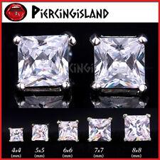 18K WHITE GOLD GF SILVER CT SQUARE SIGNITY DIAMOND MENS LADIES KID STUD EARRINGS