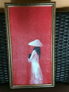 Beautiful Vietnamese lady oil painting bought in Hanoi and framed in Australia
