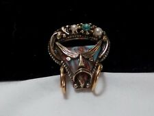 Vintage Gold Selro Selini Pirate Face Turquoise Rhinestone Pearl Figural Pin