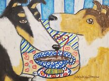 Smooth Collie drinking Coffee 13x19 Art Print Poster Artist Vintage Style Dog