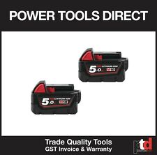 NEW MILWAUKEE 18V CORDLESS M18B5 5AMP BATTERIES X 2 - GENIUNE AUST STOCK