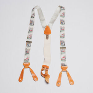 Trafalgar Silk Suspenders Braces with Vintage American Football Theme